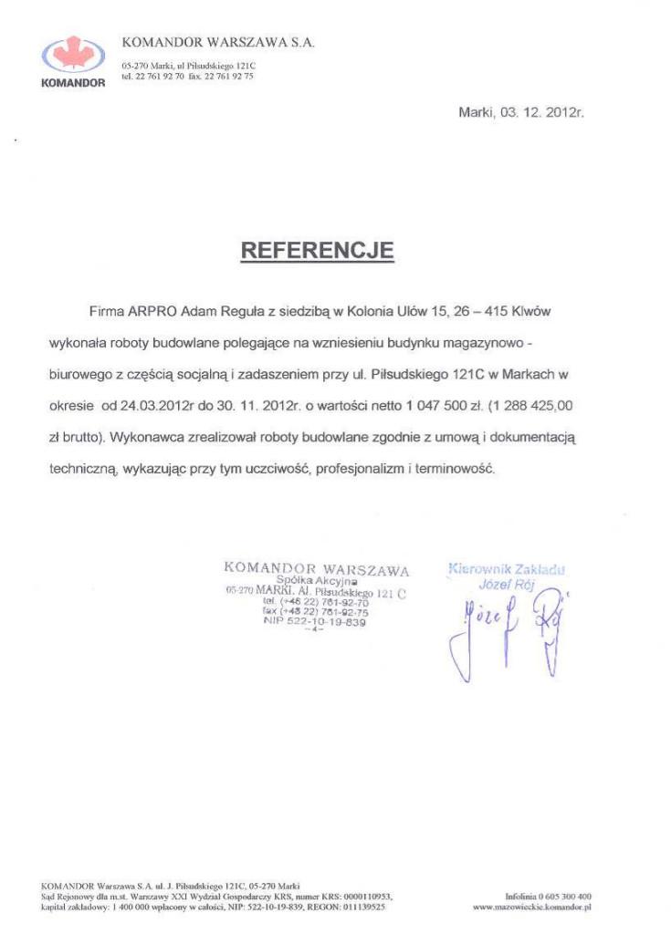 Referencje od klienta dla firmy Arpro. nr 3