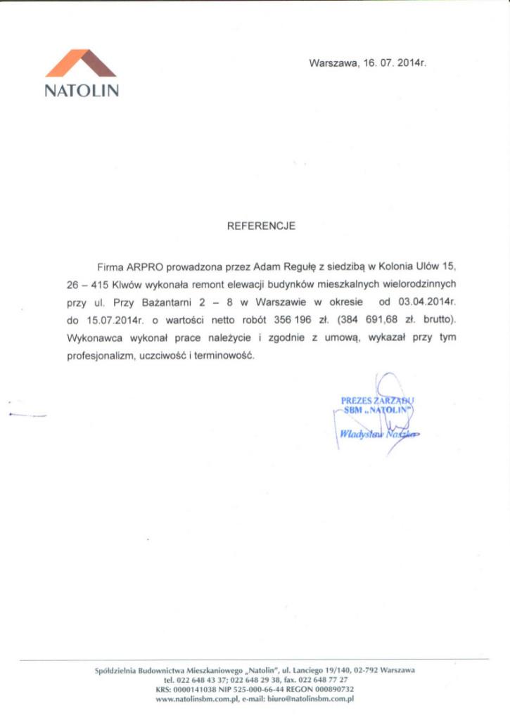 Referencje od klienta dla firmy Arpro. nr 4