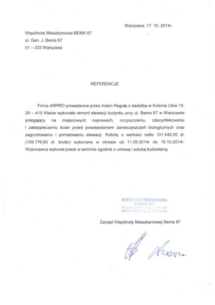 Referencje od klienta dla firmy Arpro. nr 5
