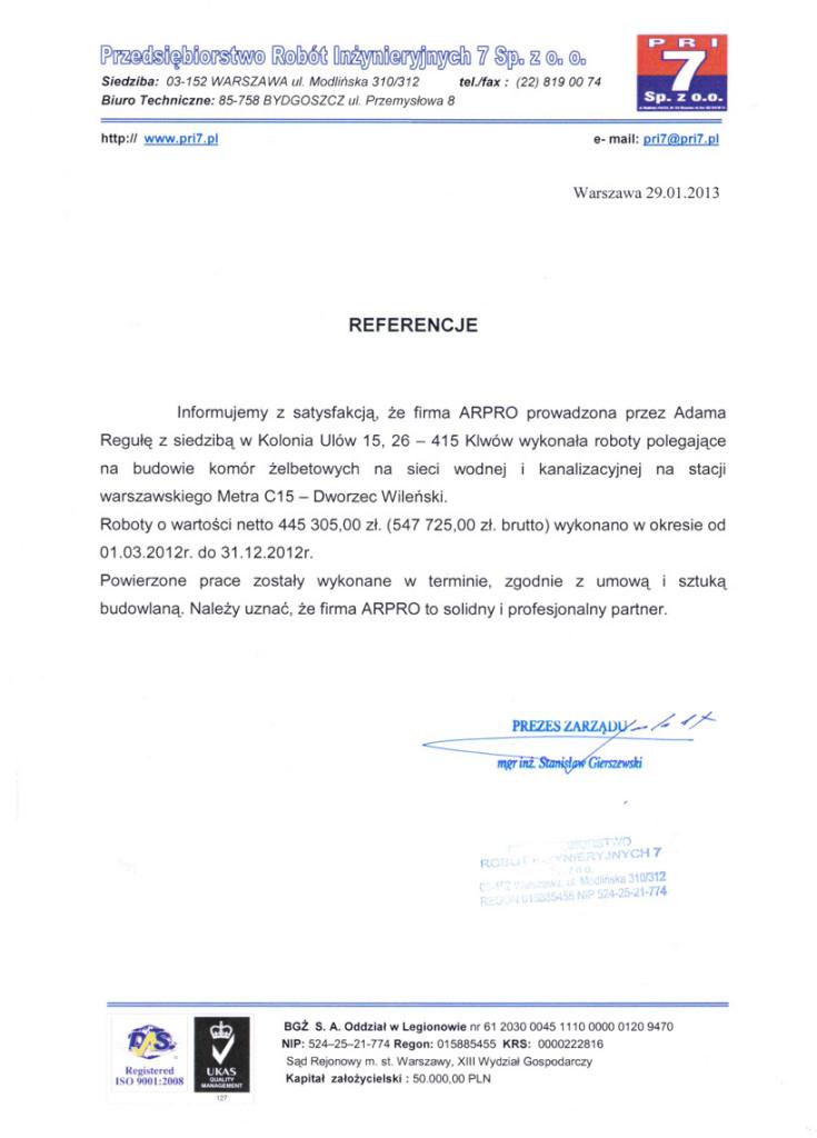 Referencje od klienta dla firmy Arpro. nr 6