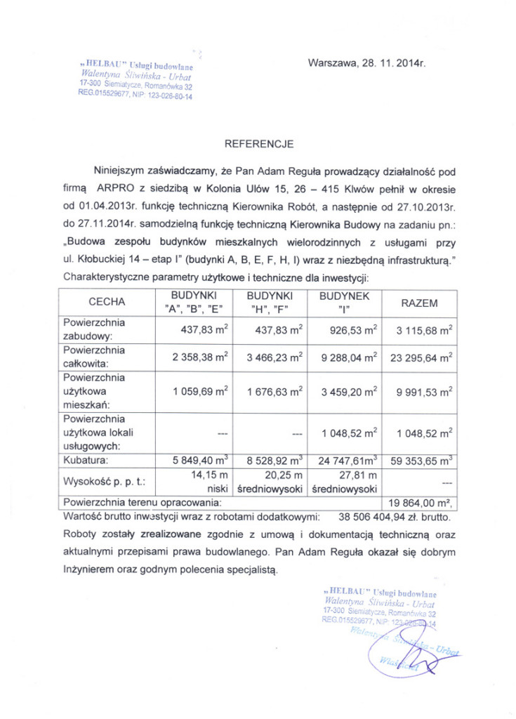 Referencje od klienta dla firmy Arpro. nr 7