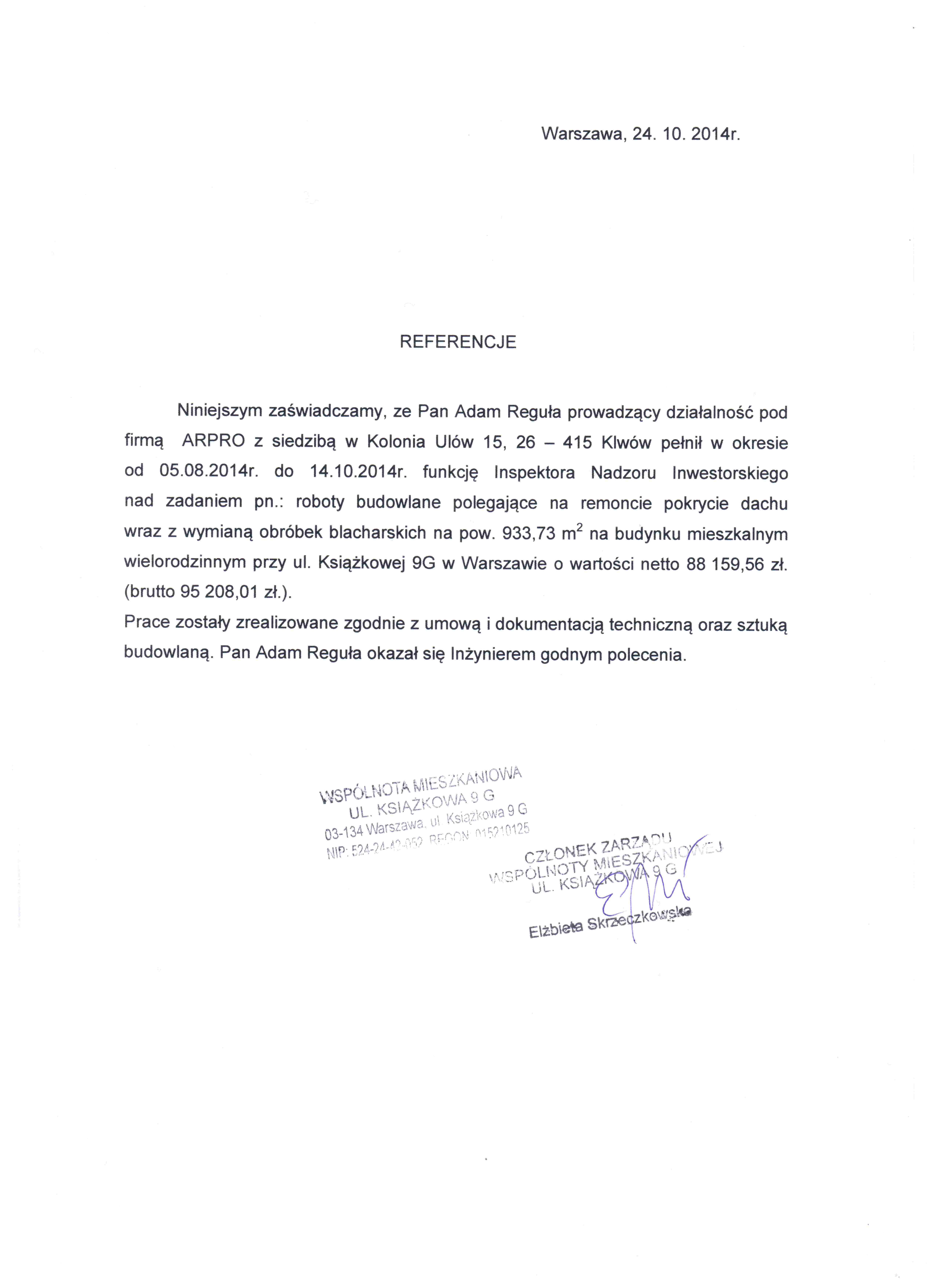 Referencje od klienta dla firmy Arpro. nr 2